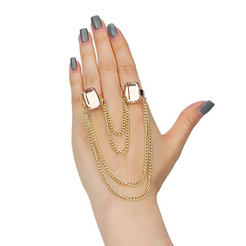 Deniferymakeup Dainty Gold Ring Set Eenvoudige Natuurlijke Edelsteen Ring met Ketting Knuckle Ring Set Gift Voor Haar Ring Set voor Vrouwen en Meisjes tieners Champagne