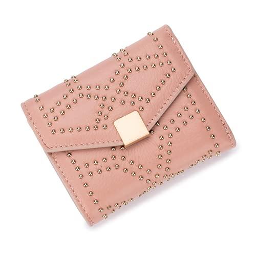 Cartera de Cuero Genuino para Mujer, Organizador de Dinero con Remaches tachonados, Estuche de Tarjeta de crédito de Cuero Inteligente, Monedero pequeño multipropósito (Pink,One Size)