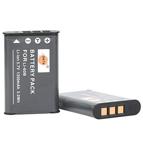 DSTE® 2X Li-60B Li-Ion Batería Compatible para Olympus FE-370,Pentax D-LI78,Optio L50,M50,M60,S1,V20,W60,W80,Nikon EN-EL11,Coolpix...
