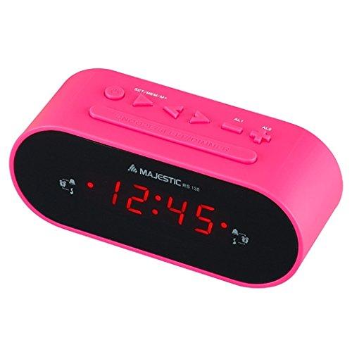 Majestic RS-135 Radio sveglia FM con sintonia elettronica, PLL doppio allarme, rosa