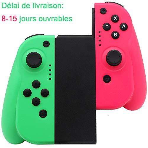 Seeksung Mando para Switch, Gamepad Inalámbrico Bluetooth con Giroscopio de 6 Ejes y Doble Vibración para Nintendo Switch, Joystick Ergonómico Puede Reemplazar Joy con, Neon Green & Neon Powder