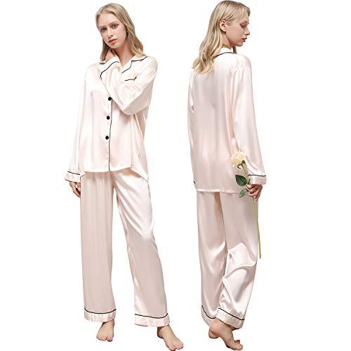 Ladieshow Pijamas Satén para Mujer, Pijamas Set Mujer Manga Larga Elegante y Moda, Largo Conjunto de Pijamas Camisón Seda para Mujer, 2 Piezas Ropa de Dormir con Botones Suave y Sedosa (Champán, S)