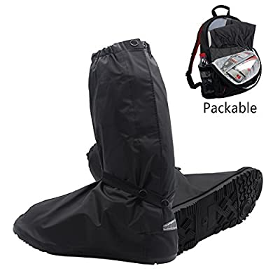 SHARBAY Adult Ultimate Waterproof Rainstorm Rainsuit Rainy Day Rain Gear Snow Motorcycle Bike Outdoor Protective Reusable Boot Shoes Cover with Side Zippered and Velcro for Men and Women (US 5.5-12)