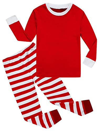 Christmas Stripe White Red Baby Boys Long Sleeve Pajamas 100% Cotton Holiday Sleepwears Infant Red Size 12-18 Monthes