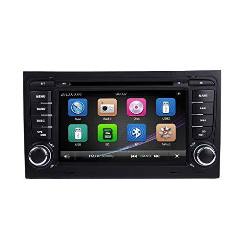 Autoradio Stereo, ZLTOOPAI für Audi A4 S4 RS4 Sitz Exeo Doppel-Din-Head-Einheit 7-Zoll-kapazitiver Multi-Touchscreen-Autoradio GPS-Radio mit kostenloser Kartenkarte Rückfahrkamera-Demontagewerkzeuge