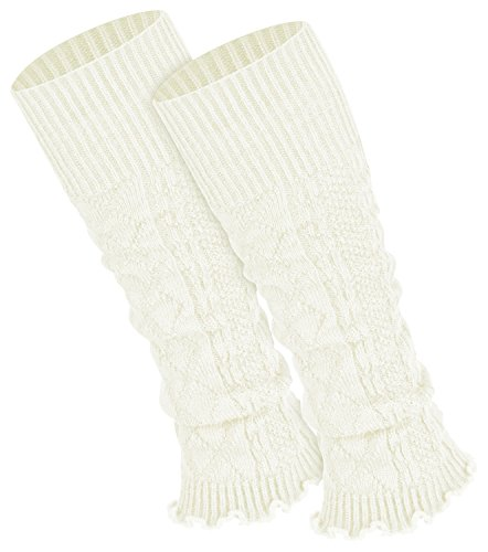 Piarini 1 Paar Bein Stulpen Damen - warme Beinstulpen Strick - ecru