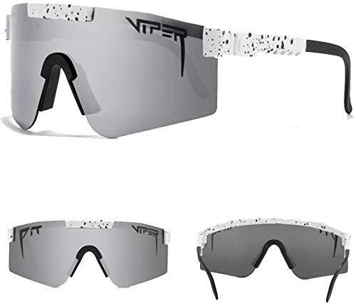 XINERJIA Gafas de sol Pit Viper Gafas de sol polarizadas de doble ancho con espejo azul Tr90 Marco Protección Uv400 Gafas de sol deportivas de ciclismo