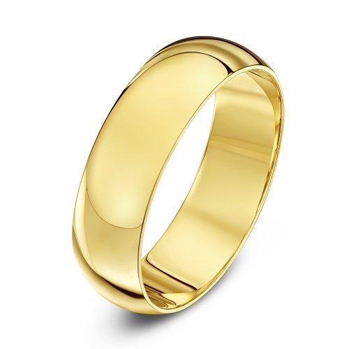 Theia Unisex Ehering 14 Karat Gelbgold, Sehr massive D-Form, poliert, 6mm - Größe 72 (22.9)