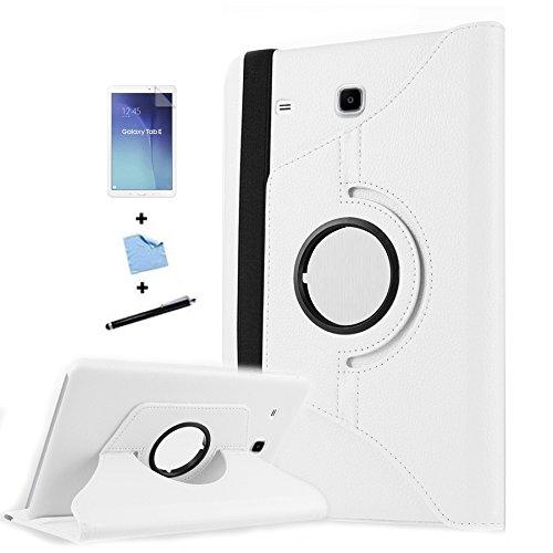 TIODIO 4 en 1 Case Cover Custodia per Samsung Galaxy Tab E 9.6-Inch SM-T560/SM-T561 Cover in Ecopelle con Meccanismo di Rotazione di 360° per Posizionamento Verticale ed Orizzontale del Tablet,Pellicola di Protezione e dello stilo Incluse, Bianco