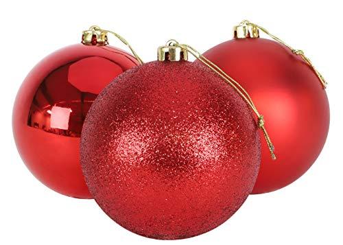 Christmas Concepts® 3er Pack - Extra große 150mm Christbaumkugeln - Glänzend, Matt & Glitterdekorierte Kugeln (Rot)