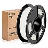 SUNLU 3D Printer Filament TPU,TPU Filament 1.75 mm,Low Odor Dimensional Accuracy +/- 0.02 mm 3D Printing Filament,1.1LBS (0.5KG) Spool,White TPU