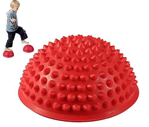 MT-Sport 半球 バランスボール 2個セット 大人から子供まで フット ヘルス ボール ミスター アルマジロ バランス トレーニング【空気入れおまけ付】 (Red)
