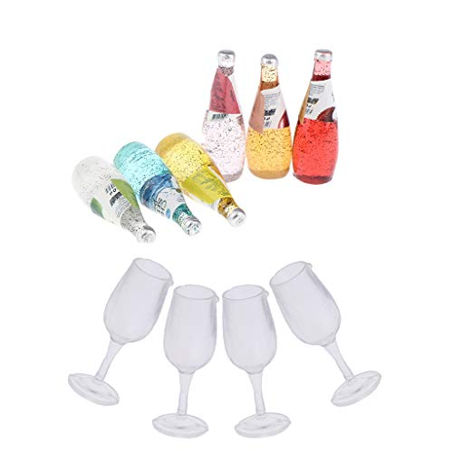 Hellery 1/12 Accesorios para Fiestas de Boda de Casa de Muñecas - 6 Botellas de Cóctel + 4 Copas de Copa de Vino