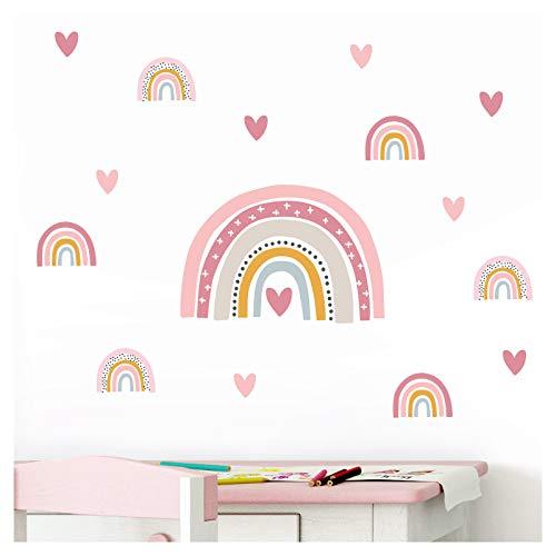 Little Deco Wandtattoo viele Regenbögen mit Herzen I Wandbild 151 x 85 cm (BxH) I Aufkleber Sticker Mädchen Wandsticker Herzchen Kinderzimmer Deko Babyzimmer DL487