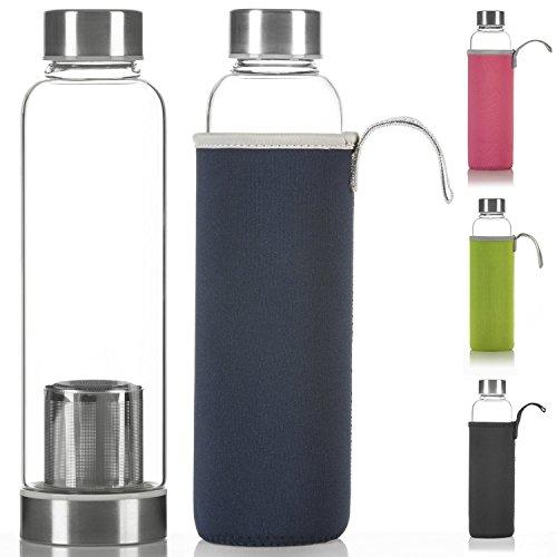 Dimono Deluxe Trinkflasche aus Glas 600ml - Sport Glasflasche Wasser-Flasche; bruchsicher mit Edelstahl Filter-Einsatz & Nylon Thermo-Hülle (Blau mit Filter)