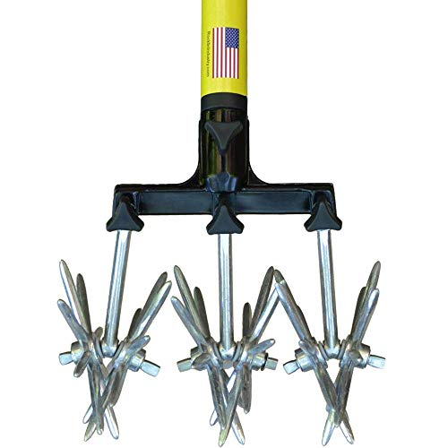 "Rotary Cultivator Tool - 40"" to 60"" Telescoping Handle - Reinforced Tines - Reseeding Grass or Soil Mixing - All Metal, No Plastic Structural Components - Cultivate Easily"