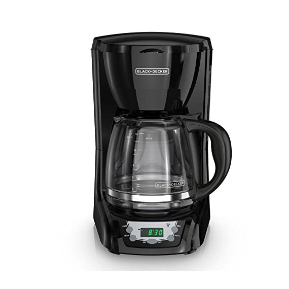 BLACK+DECKER DLX1050B 12-cup Programmable Coffee Maker with glass carafe, Black 8 QuickTouch Programming - Easily program the 24-hour auto brew feature so you can wake up to a fresh pot of coffee Digital Controls with Rubberized Feel - Large, rubberized buttons give you full control of the coffeemaker, and the easy-read screen displays the clock, brew time, and programming options Sneak-a-Cup - This feature temporarily stops the flow of coffee so you can pour your first cup before brewing ends without making a mess