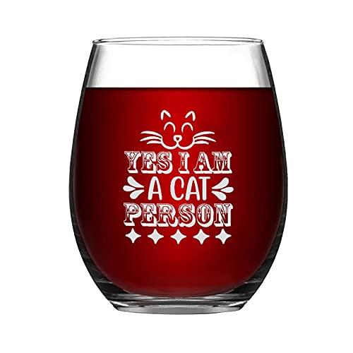 Yes I Am A cat Silhouettes Pet Personson Copa de vino divertida Copa de vino sin tallo, grabado con láser para whisky, vaso de chupito, idea única para él, ella, mamá, papá, BFF, cumpleaños, 15 onzas