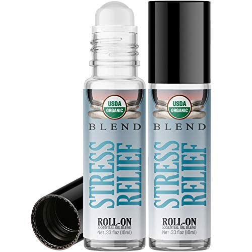 Organic Stress Relief Blend Roll On Essential Oil Rollerball (2 Pack - USDA Certified Organic) Pre-diluted with Glass Roller Ball for Aromatherapy, Kids, Adults Topical Skin Application - 10ml