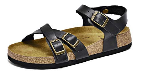 U-lite Womens Soft Footbed Cowhide Women Arch Support Insole Back Strap Sandal Supporting Sandals Black 9-9.5
