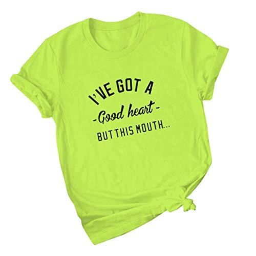 ZEFOTIM Fashion Womens O-Neck Short Sleeve Letter Print Plus Size Cotton Casual Top(Green,Large)