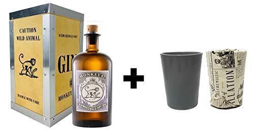 Monkey 47 Gin mit Holzkiste 0,5l (47% Vol) + 2x Ton Becher mit Zeitung Schwarzwald Dry Gin Bar Longdrink Cocktail Sammlung Gin Tonic - [Enthält Sulfite]