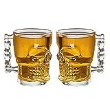 MIR9 Skull Beer Mug 520ML Glass Transparent for Your Home Bar (Set of 2)