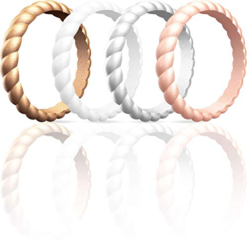 ThunderFit Thin Braided Silicone Wedding Rings for Women (Bronze, Rose Gold, Silver, White, 6.5-7 (17.3mm))