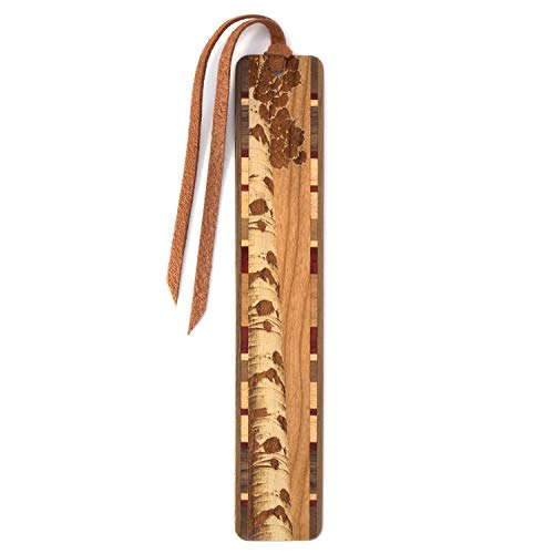 Aspen Tree Engraved on Cherry Wooden Bookmark with Suede Tassel – Search B073V8BG1S for Personalized Version