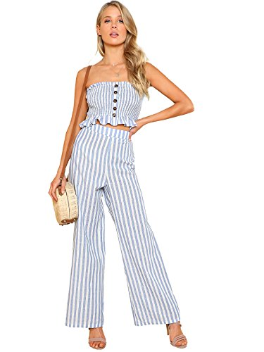 Floerns Women's Summer 2 Piece Outfits Strapless Tube Top and Pants Sets Blue White S