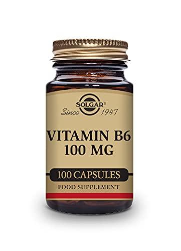 Solgar Vitamina B6 Mg (piridoxina) Actividad Hormonal Regulada, Formación De Glóbulos Rojos, Cápsulas Vegetales, Multicolor, 100 Unidad