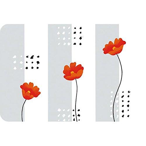 """Saleen Sets de Table en PP imprimés """"Pavot Rouge"""" en Transparent 43 cm x 30 cm"""