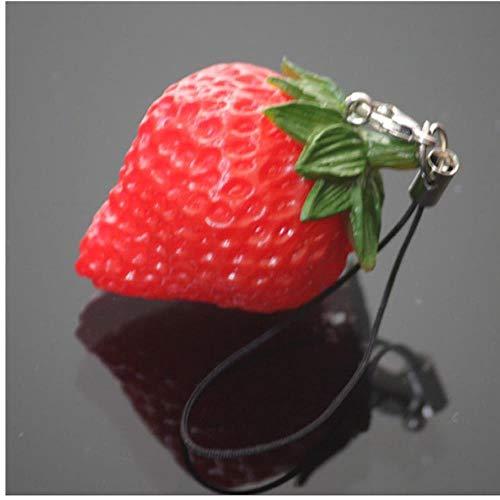 Avmy Mini niedlichen Obst Schlüsselbund Simulation Obst Handy Charm Bag Schlüsselbund Anhänger Dekor, Erdbeere
