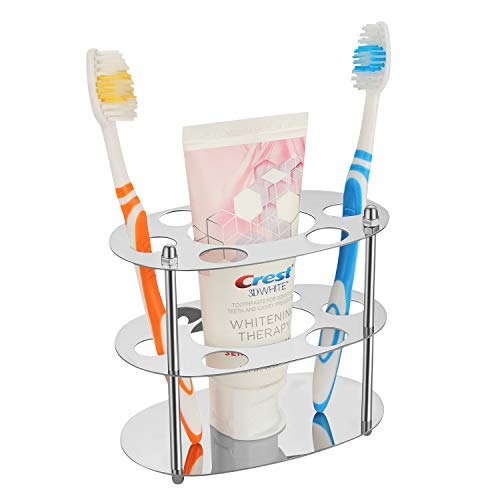 Witlife Bathroom Toothbrush Holder Stainless Steel Toothbrush Holder and Toothpaste Holder Stand 6 Holes Razor Toothbrushes Organizer for Bathroom