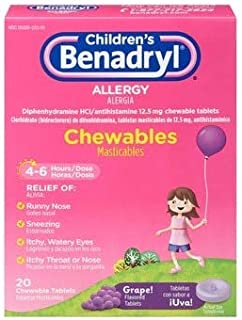 Benadryl Children's Allergy Chewable Tablets Grape Flavored - 20 ct, Pack of 4