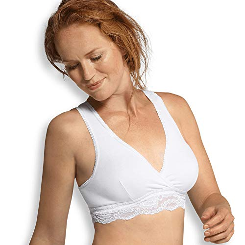 Carriwell Bio Crossover Still-BH, Schlaf- und Schwangerschafts-Bustier mit weicher Spitze, ideal für die Nacht, aus Bio-Baumwolle, bügellos, nahtlos, weiß, Größe: L