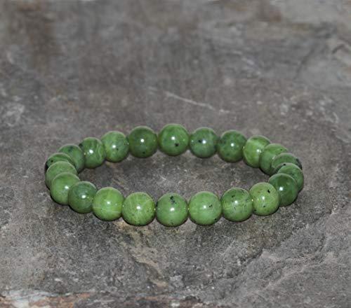 Pulsera de Jade Natural de 8 mm, Joyería de Piedras Preciosas Naturales de Jadeíta Canadiense, Cuentas de Jade de Canadá Genuino, Simboliza poder, Prosperidad y Salud, Pulsera Verde Unisex