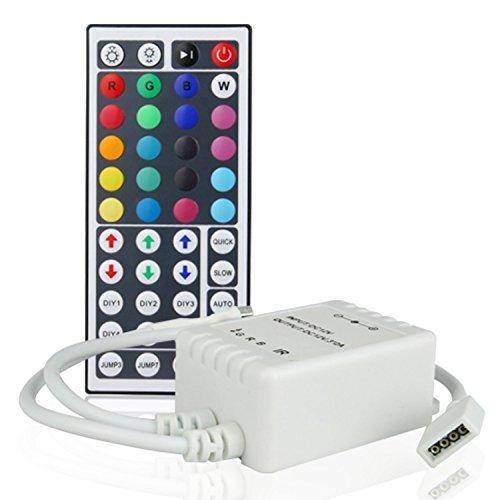 BuyinCoins Telecomando a infrarossi, 24 tasti, colore variabile per striscia a LED RGB 5050, 44KEY, 44key Remote Only, E27 12 volts