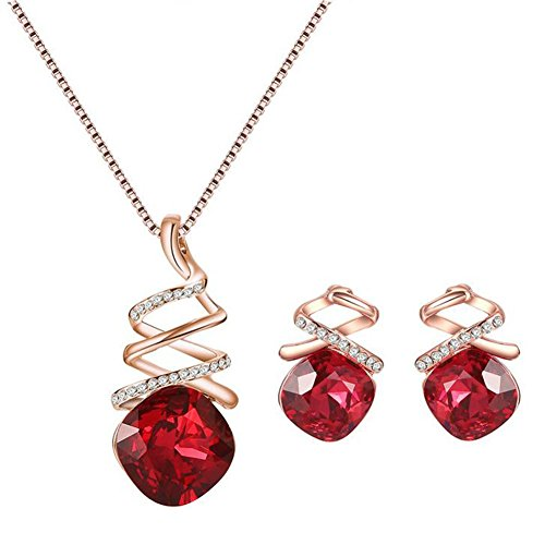 Fablcrew Gemstone Necklace Earrings Set Simply Eardrop for Girl Crystal Bride Ornaments Set Gift