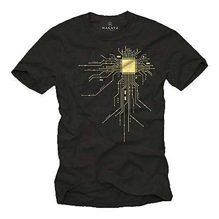 MAKAYA Camisetas Frikis Hombre CPU Negra