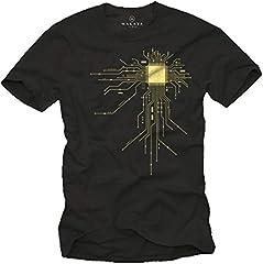 MAKAYA Regalo Friki - Camiseta para Hombre Negra - CPU