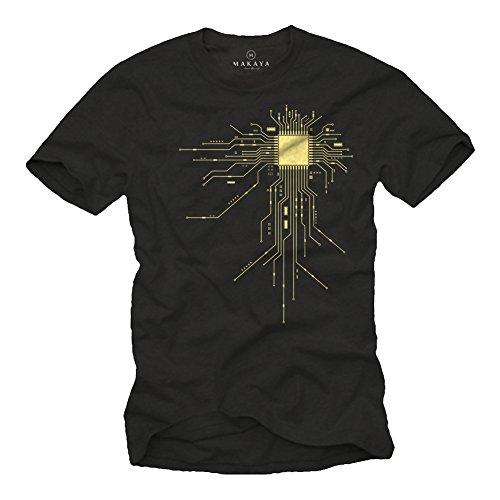 Cooles T-Shirt Geek CPU schwarz Größe M