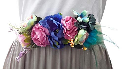 BRANDELIA Cinturones de Flores para Vestidos de Fiesta Mujer Cinturones Elásticos Mujer con Flores Artificiales, Cinta Beis Pluma Verde
