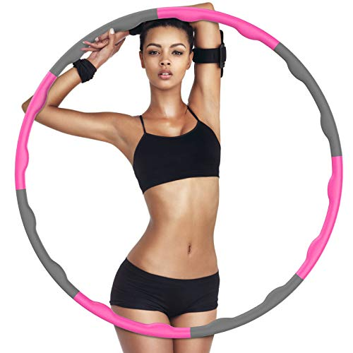 GUBOOM Hula Hoop Reifen, Hula Hoop Fitness Reifen für Erwachsene & Kinder zur Gewichtsabnahme und Massage, 6-8-Teiliger Abnehmbarer Hula-Hoop-Reifen für Training Büro oder Bauchmuskelkonturen