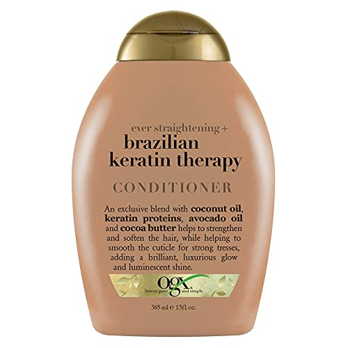 OGX Ever Straightening + Brazilian Keratin Therapy Hair-Smoothing Conditioner with Coconut Oil, Cocoa Butter & Avocado Oil, Paraben-Free, Sulfate-Free Surfactants, 13 Fl Oz