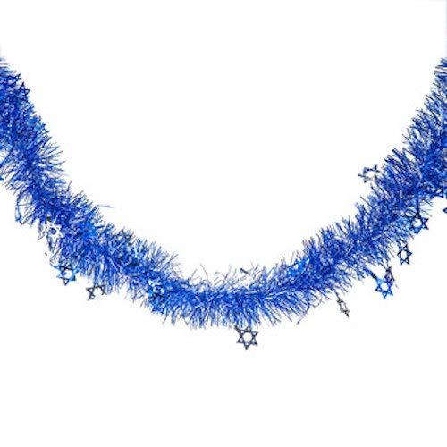 Blue and White Hanukkah Star of David Tinsel Garland Party Decoration