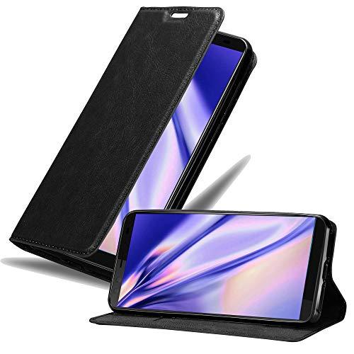 Cadorabo Hülle für HTC U12+ (Plus-Version) in Nacht SCHWARZ - Handyhülle mit Magnetverschluss, Standfunktion und Kartenfach - Case Cover Schutzhülle Etui Tasche Book Klapp Style