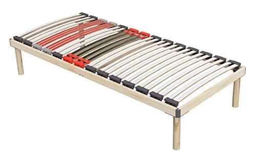 Coemo Hochwertiges Komplettbett - Lattenrost mit Füßen - Bettgestell 90x200 cm - Doppelbett 180x200 cm - stabiles Holzbett mit flexiblen Federleisten und Härtegradeinstellung