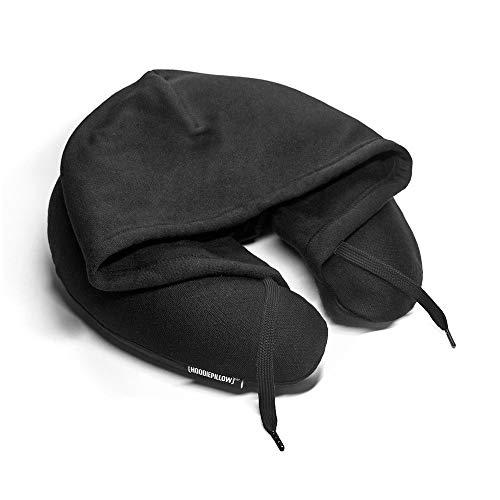 HoodiePillow Almohada de viaje con capucha de espuma viscoelástica, color negro
