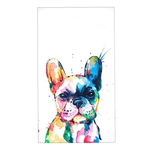 French Bulldog Puppy Watercolor Dog Colorful Art Hand Towels for Gym Multipurpose Soft Washcloths for Bathroom Kitchen Spa Sport 16x27 Inch